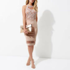 River Island Blush Pink Floral Lace Sleeveless Bodycon Party Dress 6 8 10 12 14