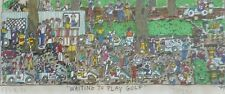 "James Rizzi ""Waiting to play Golf"" 1989 Hand Signed 3-D Serigraph Pop Art framed"