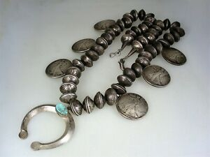 HEAVY OLD NAVAJO 1930s/40s COIN SILVER SQUASH BLOSSOM STYLE NAJA NECKLACE 342 gm