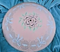 "Vintage Glass Ceiling Light Shade Pink Blue Bow and Center Flower 14.5"" wide"