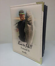 Personalised faux leather photo album, memory book, Born to fish forced to work
