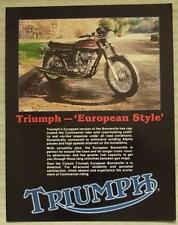 TRIUMPH EUROPEAN BONNEVILLE MOTORCYCLE USA Specification Leaflet Late 1970s