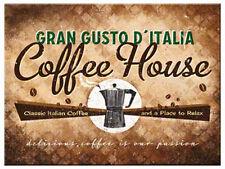 Retro Metal Magnet COFFEE HOUSE 8x6cm Vintage Design GRAN GUSTO D'ITALIA Italian