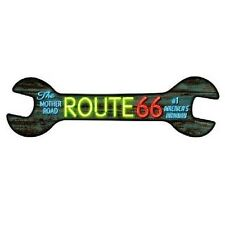 """Route 66 """"The Mother Road"""" Neon Novelty Metal Wrench Sign 17"""" x 5"""""""