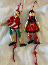 2 Gws Jumping Jack Pull Cord Ornaments Pinocchio & German Lady Painted Wood