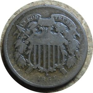 elf Two Cents   1864 Large Motto    Civil War