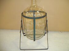 Vintage 5 Gallon Glass ELECTRIFIED PURE WATER Embossed Bottle with Pouring Rack