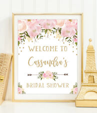 Pink Floral Bridal Shower Welcome Sign Chic Faux Gold Wedding Decor UNFRAMED