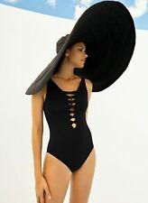 Bleu by Rod Beattie Lace Down One-Piece Swimsuit Black Size 12