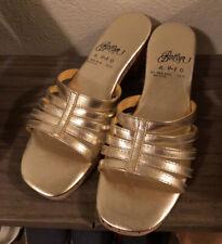Reduced - 50s/60s Gold Foil Block Cork Heel Sandals