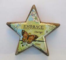 o Embrace Change star wood carved heart hang display easel KELLY RAE ROBERTS