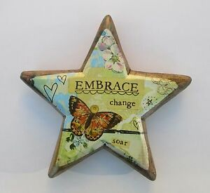 zzp Embrace Change star wood carved heart hang display easel KELLY RAE ROBERTS