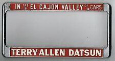 RARE El Cajon California Terry Allen Datsun Vintage Dealer License Plate Frame