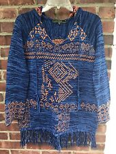 NWOT💙LOVE STITCH BLUE MULTI HOODED FRINGED COTTON SWEATER TOP✨ISABEL MARANT✨💙