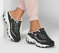 Sandal Skechers D'lite Shoes Black Women Clog Slip on Comfort Memory Foam 149059