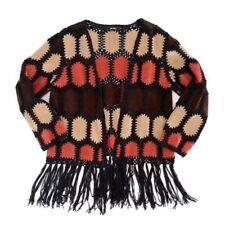 ALI MILES Women's Medium Duster Open Front Hippie Boho Patch Fringe Orange Brown