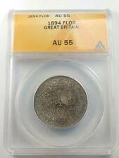 Nice High Grade 1894 Great Britain Silver 1 Florin Coin - ANACS AU-55 KM-781