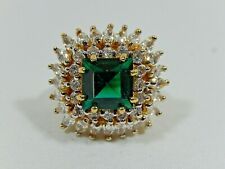 CAMROSE KROSS JBK JACKIE KENNEDY STERLING SILVER SIMULATED EMERALD & DIA RING S5