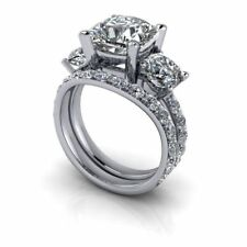Certified 3.10Ct White Round Cut Diamond Engagement Ring Set in 14K White Gold