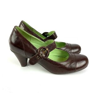 Miz Mooz August Maryjane Pump 7.5 Dark Brown Leather Buckle Womens Shoe Heel