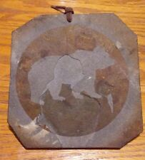 Montana Stone Carving Bear Grizzly Big Fork Carved Etching Leather Hanging Strap