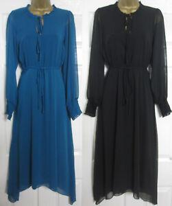 NEW Wallis Womens Hanky Hem Boho Tea Dress Midi Long Frill Neck Teal Black 8-18