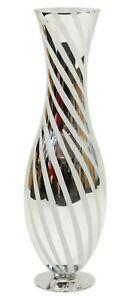Very Large White & Silver Tall Floor Standing Glass Flower Vase Mirrored Design