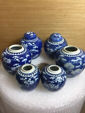 6 Antique Chinese Blue And White Ginger Jar