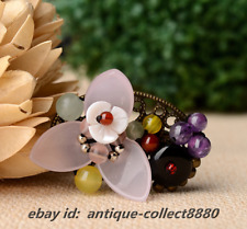 Chinese Amethyst/Aventurine Jade/Shellfish/Agate/Glaze Breastpin Brooch Hairpin