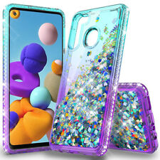 For Samsung Galaxy A21 Bling Liquid Glitter Case Cover +Tempered Glass Protector
