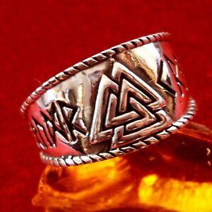 VALKNUT ODIN Ring 925 Silber Wikinger Larp Berserker Asatru Runen Runes