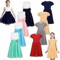 Children Girls Bridesmaid Pleated Flower Girl Dress Formal Party Pageant Dress
