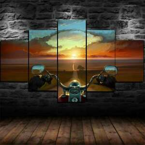Motorcycle Ride Road Sunset 5 Piece canvas Wall Art Print Poster Home Decor