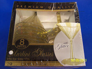 Gold Glitter Christmas Holiday Cocktail New Year's Party Plastic Martini Glasses