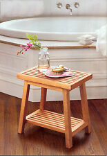 "18"" A GRADE TEAK SIDE TABLE BATH STOOL END SHOWER BENCH PATIO SPA OUTDOOR INDOOR"