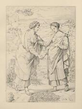 ANTIQUE VIRGIN MARY ST. ELIZABETH PREGNANT W CHRIST CHILD ST. JOHN BAPTIST PRINT