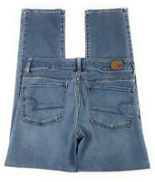 American Eagle Straight Super Stretch Low Rise Distressed Blue Jeans Women's 6S