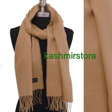 New 100% CASHMERE SCARF MADE IN SCOTLAND SOLID Beige SUPER SOFT Women's