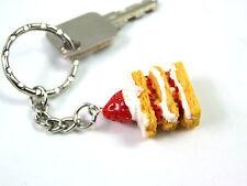 Novelty Cute 3D Pastry Layer Cupcake resin Keyring Key Handbag Buckle Charm