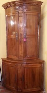 Beautiful and Large Corner Two Parts Walnut Solid 18th Century XIX ° Century