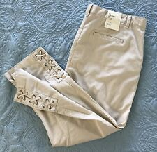 NWT GAP Girlfriend Chino Mid-rise Stretch Size-16 Beige Metal Grommet Hem