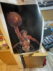 "Vintage 1984 Olympic Games Poster ~ Bill James-The Slamdunk ~ 22"" x 34"" NBA GUC"