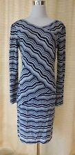 BCBG MAX AZRIA SIZE L KNIT BLUE & WHITE LACE LONG SLEEVE DRESS V NECK