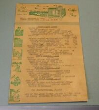 1944 Hotel Markham Coffee Shop Menu Gulfport Mississippi US Navy Base Restaurant