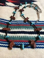 #1005 Vintage Zuni Pipestone Carved Bear Fox Fetishes, Turquoise, Agate Necklace