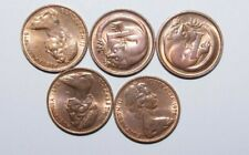 1970's, 1 Cent Australia a Lot of 5 UNC / or High Grade and High Value Coins-9