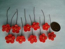 VINTAGE CZECH RED GLASS WIRED FLOWERS - HEADPINS - BEADS
