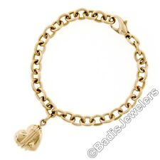 """Tiffany & Co. 18k Yellow Gold 7.25"""" Cable Link Chain Heart Arrow Charm Bracelet"""