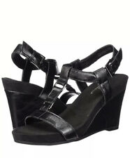 A2 By Aerosoles Plush Nite Black Wedge Sandal Size 11 W (wide) New