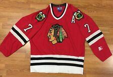 Vintage Starter Chicago Blackhawks NHL Hockey Jersey #7 Chris Chelios - Red L